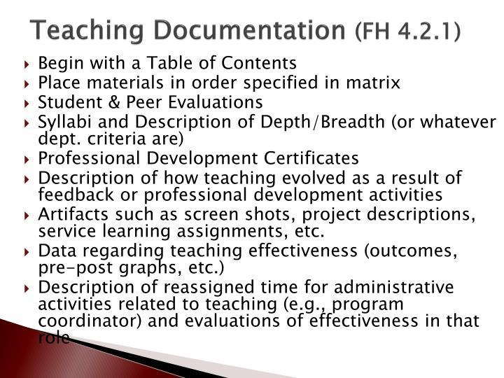 Teaching Documentation