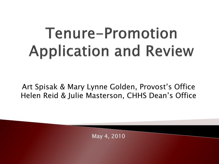 Tenure promotion application and review