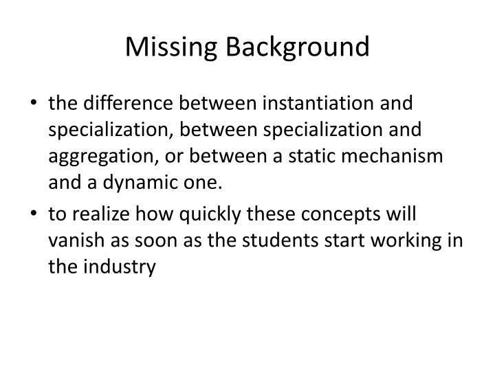 Missing Background