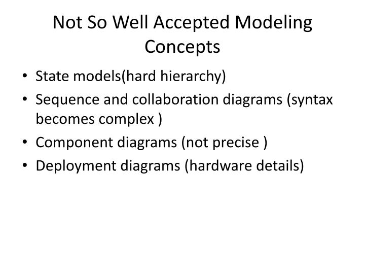 Not So Well Accepted Modeling Concepts