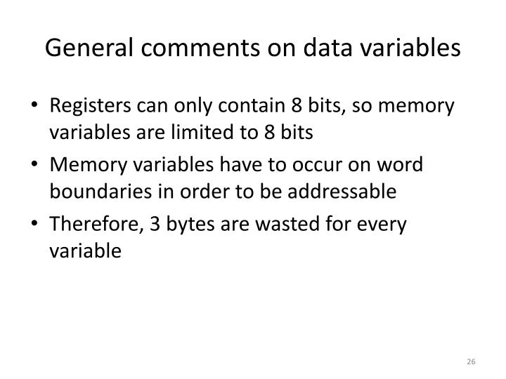 General comments on data variables