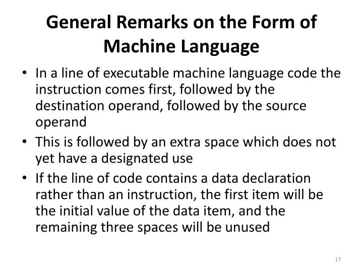 General Remarks on the Form of Machine