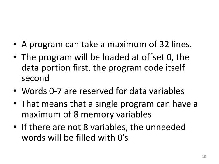 A program can take a maximum of 32 lines.