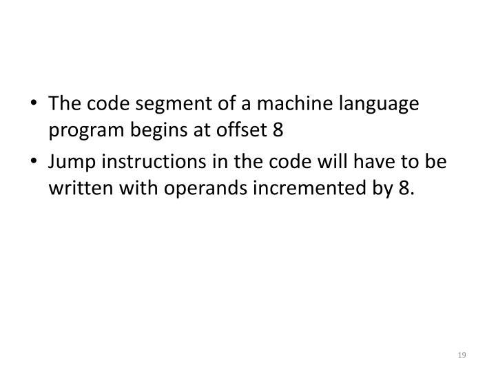 The code segment of a machine language program begins at offset 8