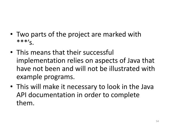 Two parts of the project are marked with ***'s.