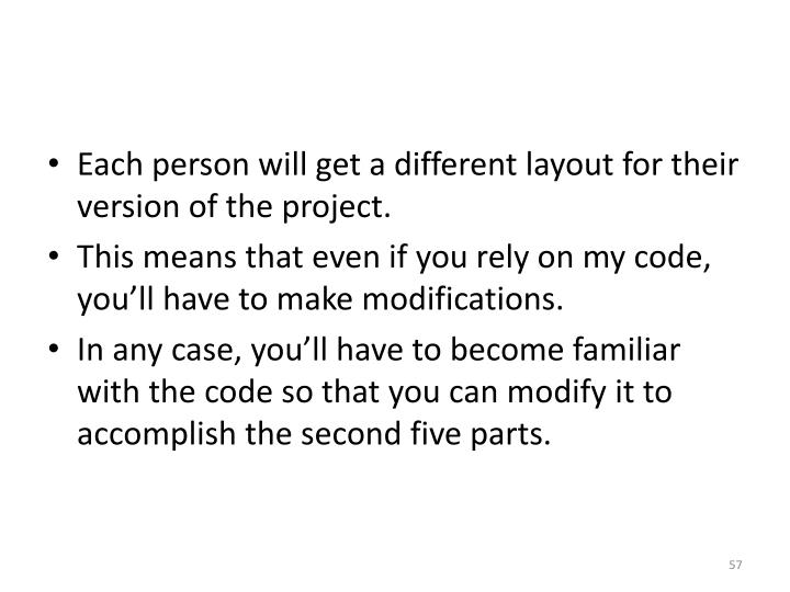 Each person will get a different layout for their version of the project.