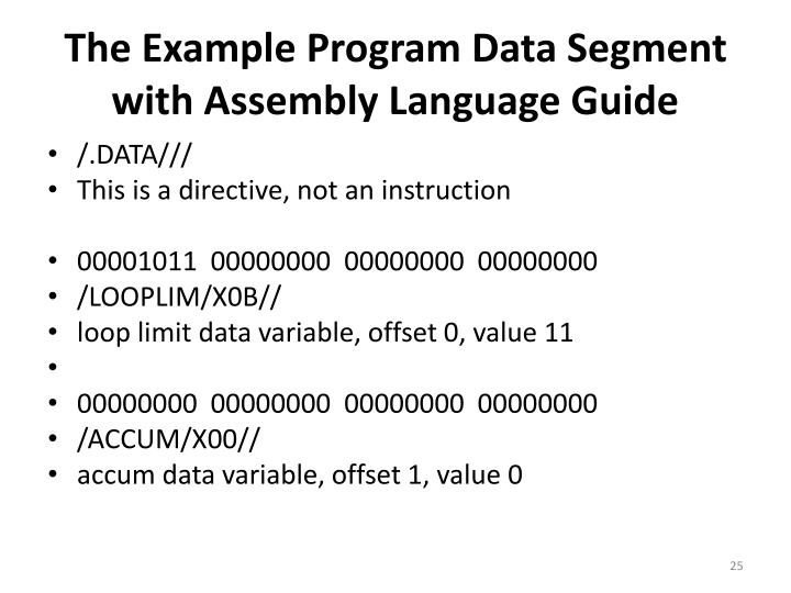 The Example Program Data Segment with Assembly Language Guide