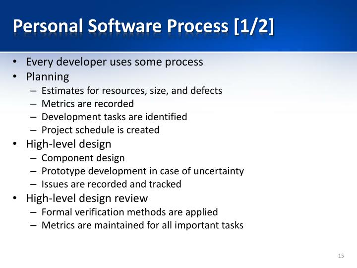 Personal Software Process [1/2]