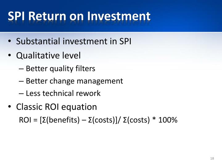 SPI Return on Investment