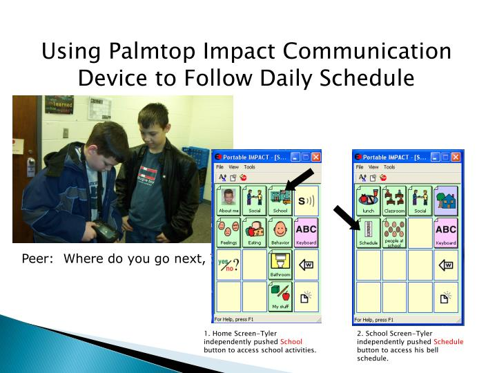 Using Palmtop Impact Communication Device to Follow Daily Schedule