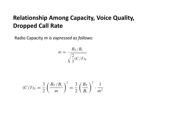 Relationship Among Capacity, Voice Quality, Dropped Call Rate