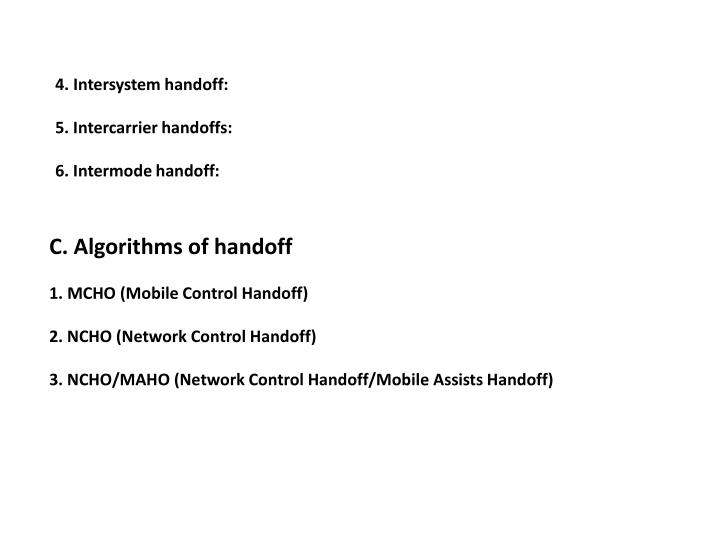 4. Intersystem handoff:
