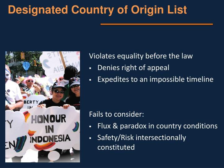 Designated Country of Origin List
