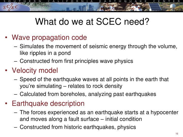 What do we at SCEC need?