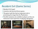 resident evil game series