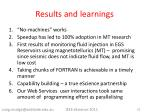 results and learnings