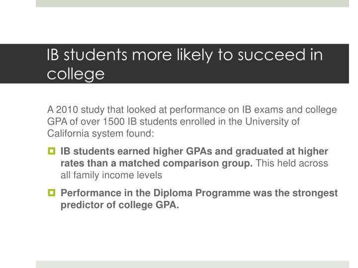 IB students more likely to succeed in college