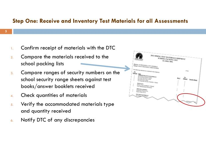 Step One: Receive and Inventory Test Materials for all Assessments