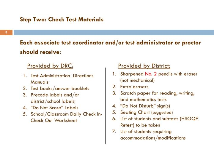 Step Two: Check Test