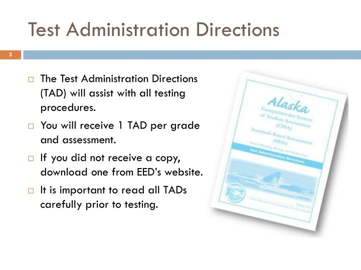 Test administration directions