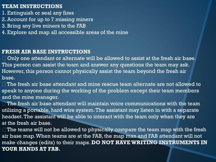 TEAM INSTRUCTIONS