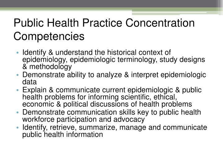 Public Health Practice Concentration Competencies