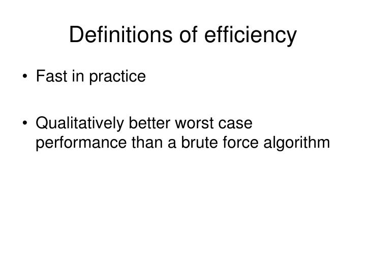 Definitions of efficiency