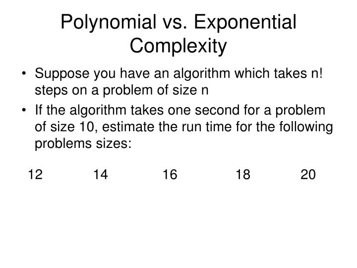 Polynomial vs. Exponential Complexity