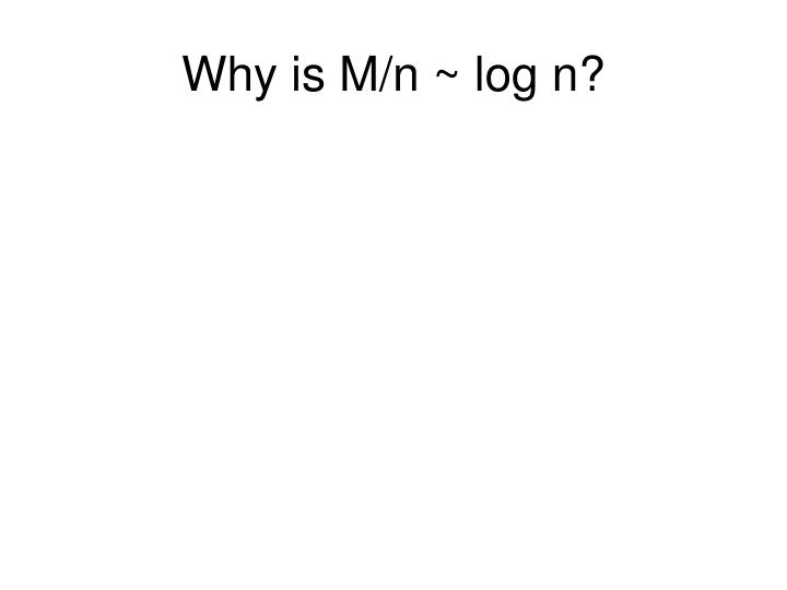 Why is M/n ~ log n?