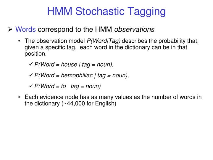 HMM Stochastic Tagging