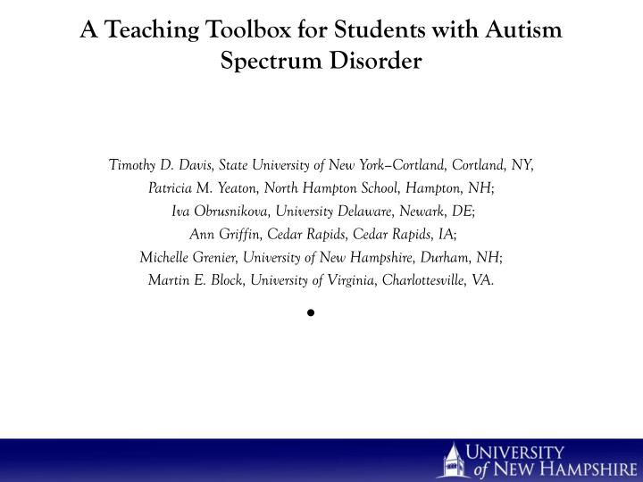 a teaching toolbox for students with autism spectrum disorder n.