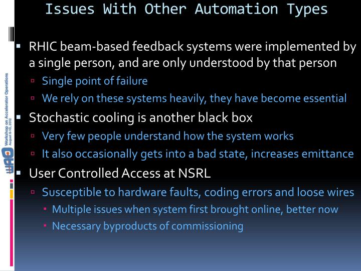Issues With Other Automation Types