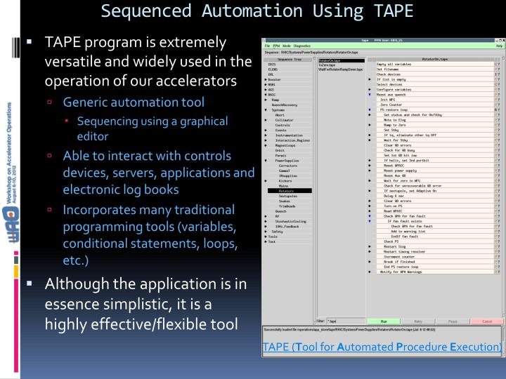 Sequenced Automation Using TAPE