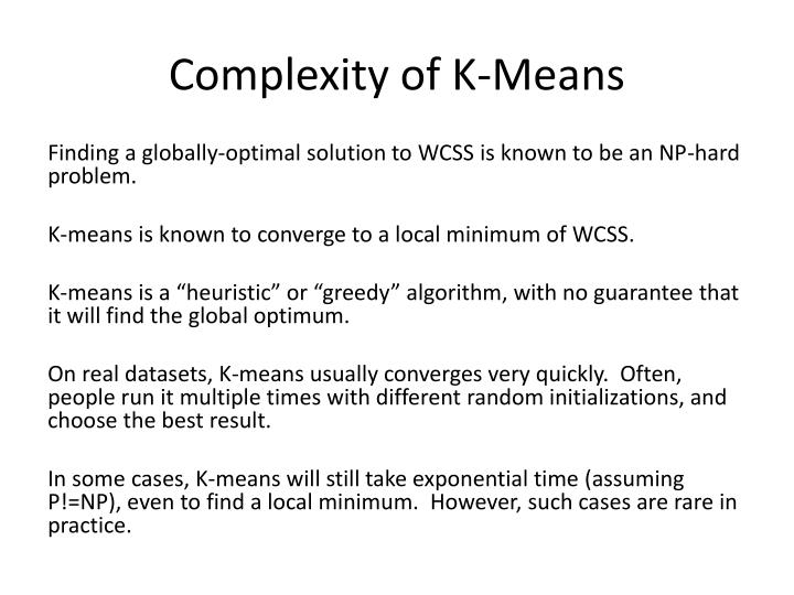 Complexity of K-Means