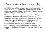 comments on jeans instability