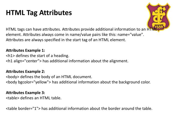 Ppt html a brief introduction title of page powerpoint for Html table tags and attributes