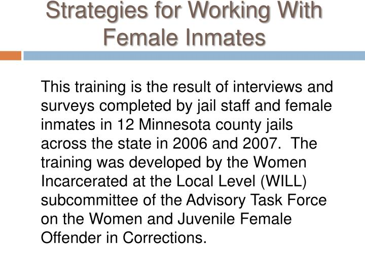 Strategies for working with female inmates