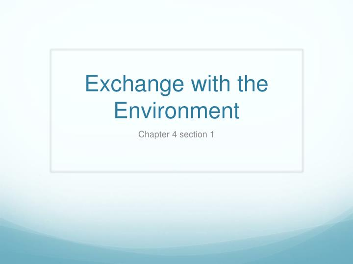 exchange with the environment n.