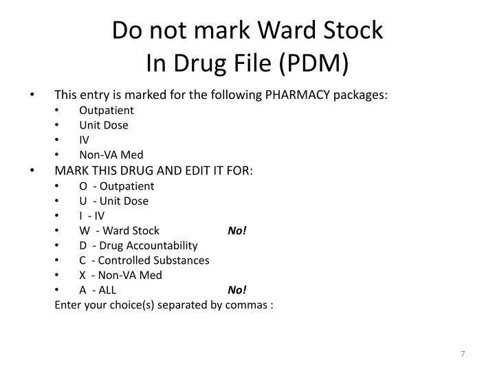 Do not mark Ward Stock