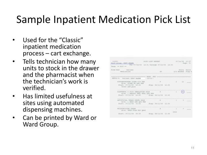 Sample Inpatient Medication Pick List