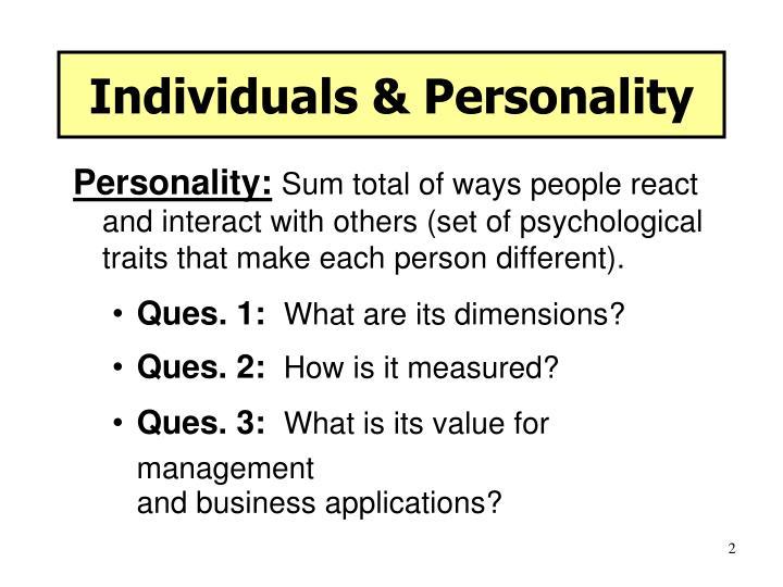 Individuals personality