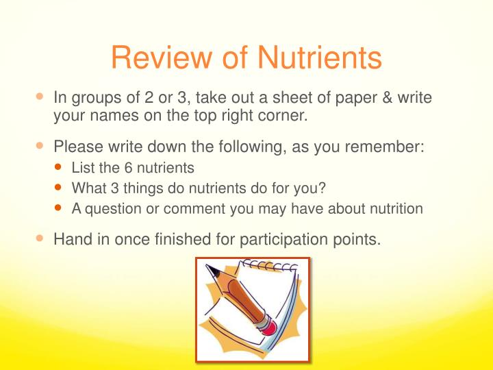 Review of nutrients