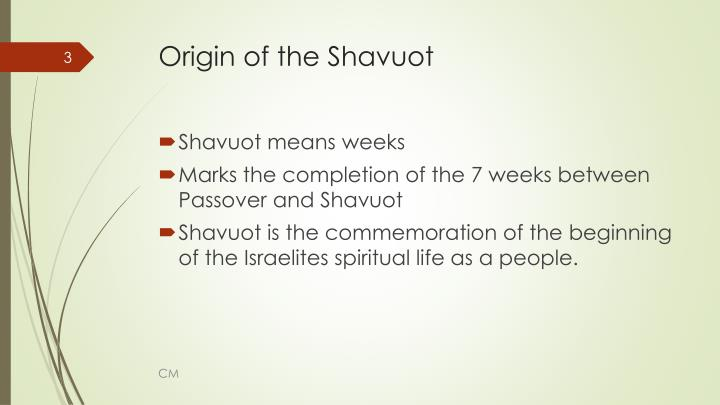 Origin of the shavuot1