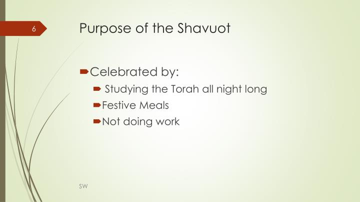 Purpose of the Shavuot
