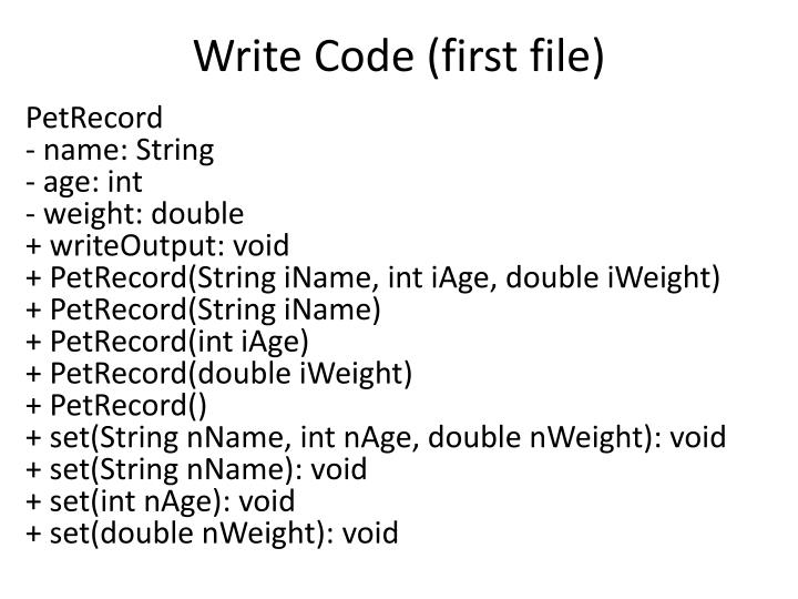 Write Code (first file)