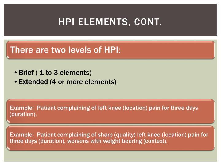 HPI Elements, cont.