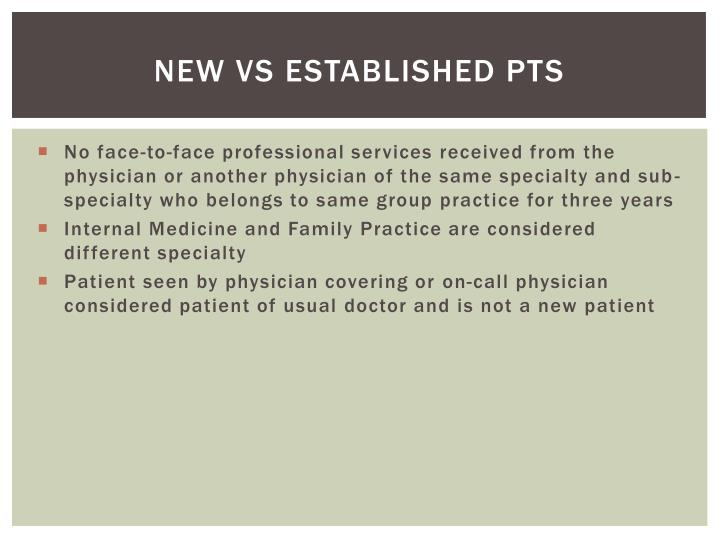 New vs Established pts