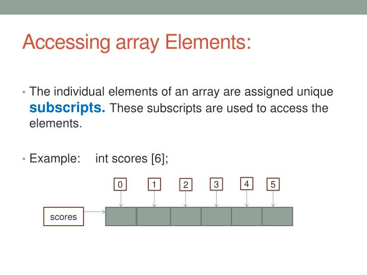 Accessing array Elements: