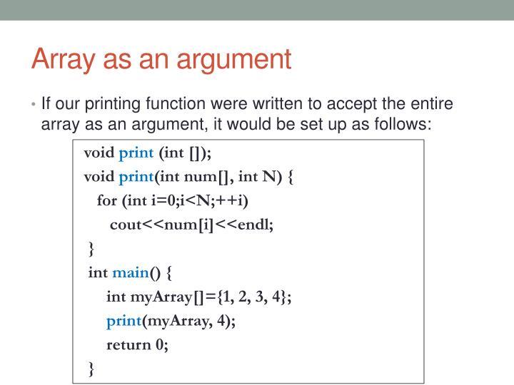 Array as an argument