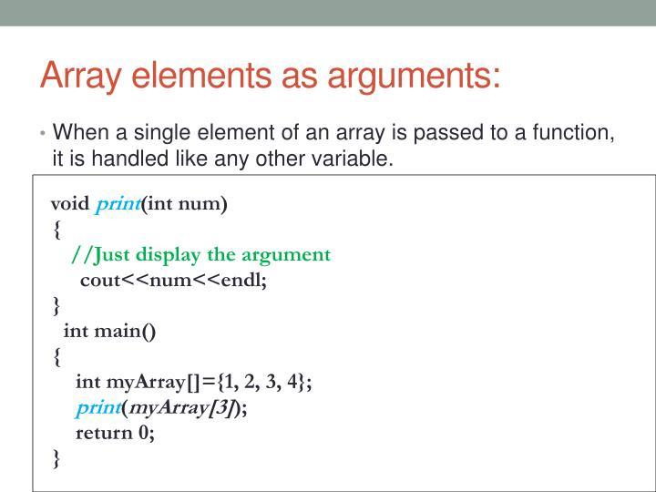Array elements as arguments:
